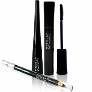 Kit Olhos Marcantes - 1 Rímel + 1 Delineador + 1 Lápis Preto c/ esfumador