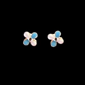Brinco Folheado a Ouro Infantil - Florzinha Azul