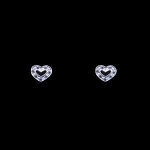 Brinco Banhado a Rhodium - Coração Contorno com Brilhos