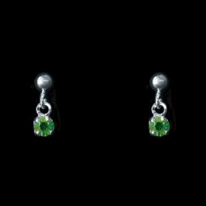 Brinco Banhado a Rhodium - Brilho Verde