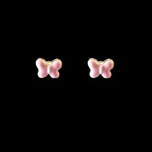 Brinco Folheado a Ouro Infantil - Borboleta Rosa